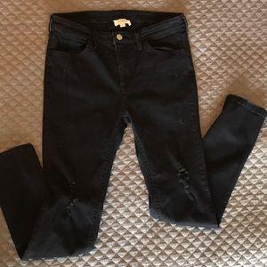 Umgee black distressed skinny ankle jeans